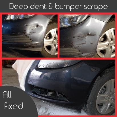 Bumper dent and scrape