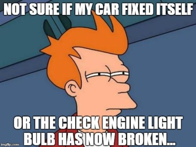 Fry check engine light meme